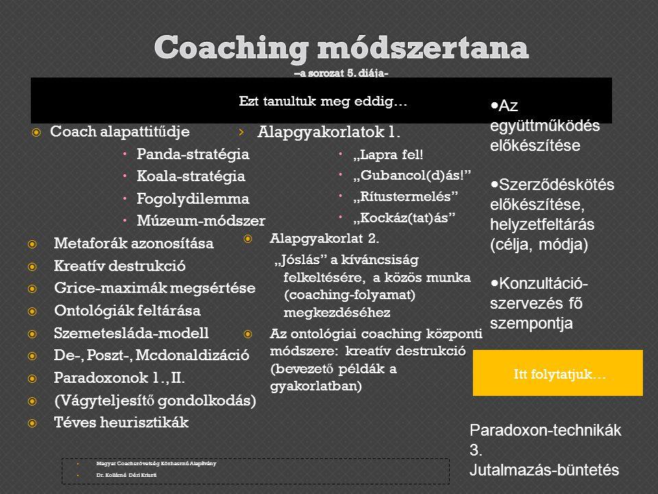 Coaching módszertana –a sorozat 5. diája-