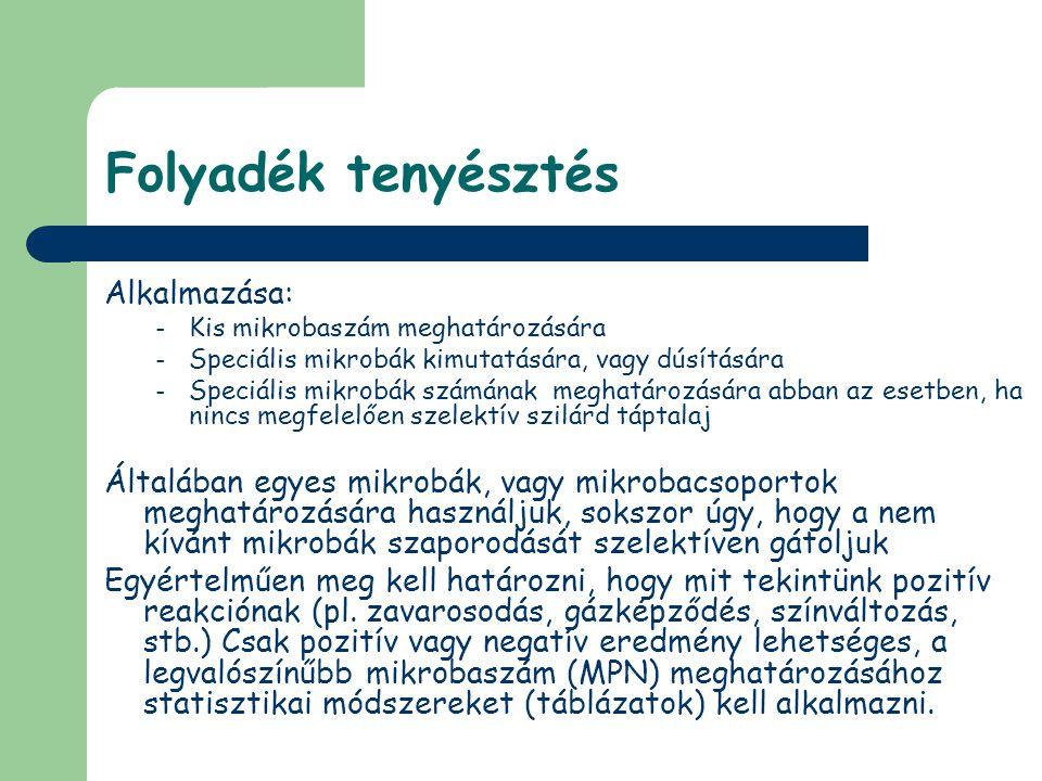 Folyadék tenyésztés Alkalmazása: