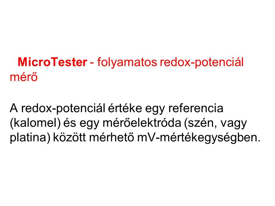 MicroTester - folyamatos redox-potenciál mérő A redox-potenciál értéke egy referencia (kalomel) és egy mérőelektróda (szén, vagy platina) között mérhető mV-mértékegységben.