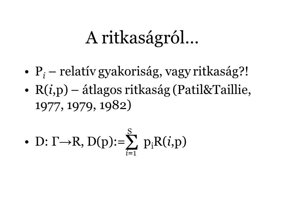 Σ A ritkaságról… Pi – relatív gyakoriság, vagy ritkaság !