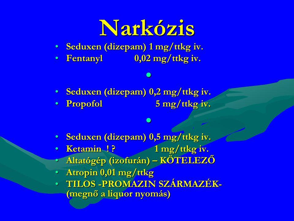 Narkózis Seduxen (dizepam) 1 mg/ttkg iv. Fentanyl 0,02 mg/ttkg iv.