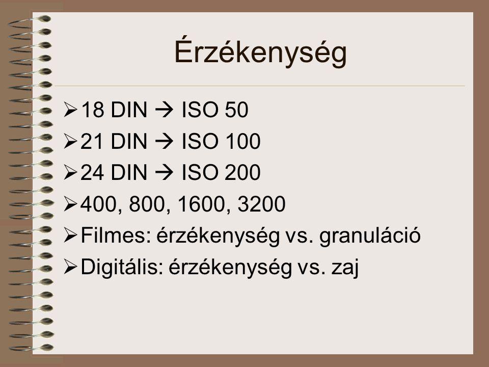 Érzékenység 18 DIN  ISO 50 21 DIN  ISO 100 24 DIN  ISO 200
