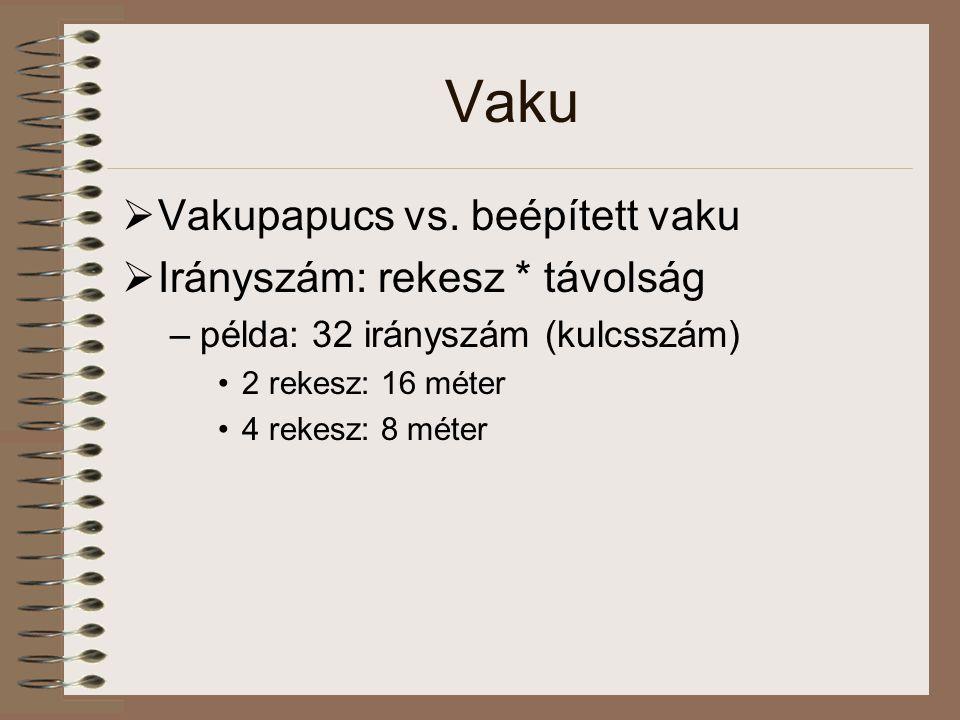 Vaku Vakupapucs vs. beépített vaku Irányszám: rekesz * távolság