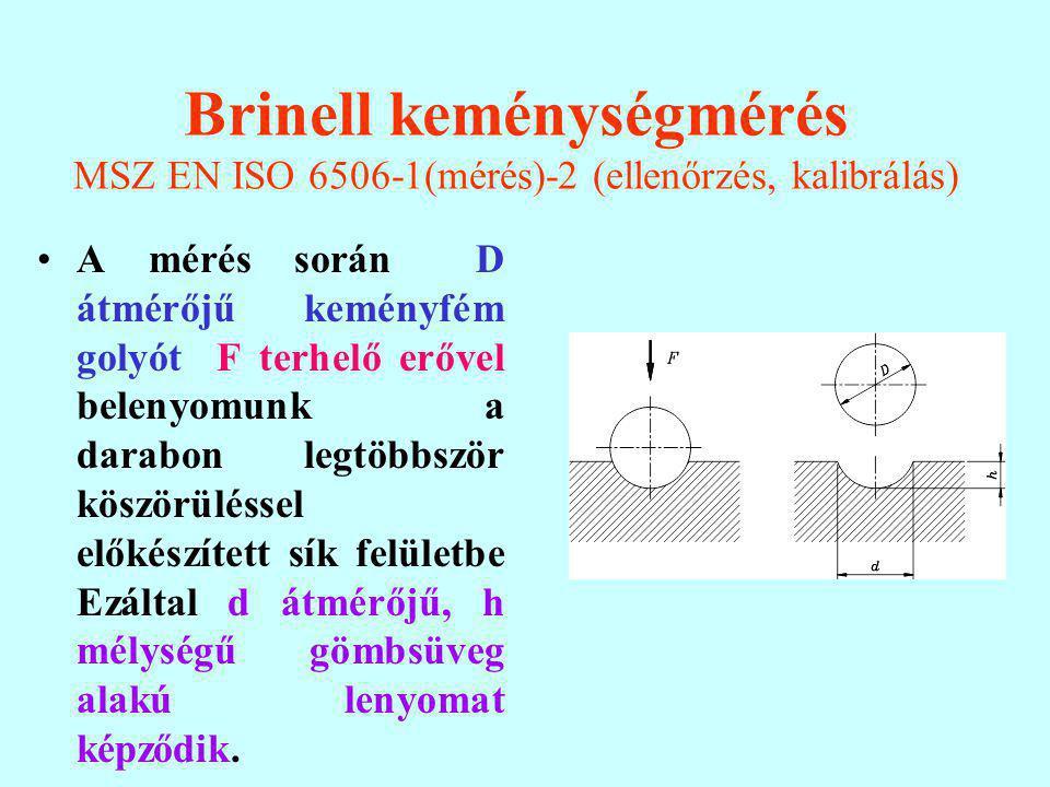 Brinell keménységmérés MSZ EN ISO 6506-1(mérés)-2 (ellenőrzés, kalibrálás)