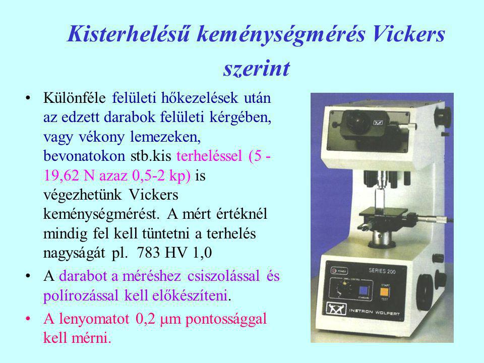 Kisterhelésű keménységmérés Vickers szerint