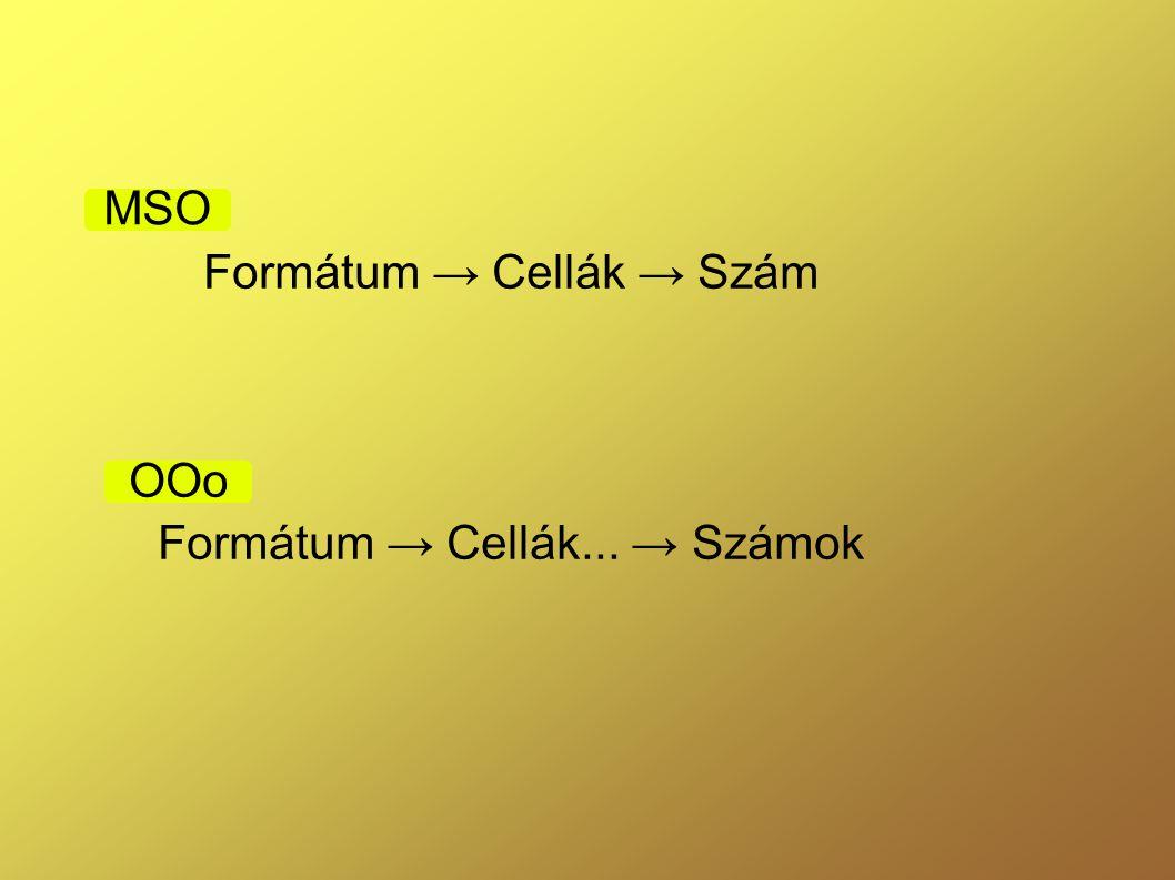 Formátum → Cellák → Szám