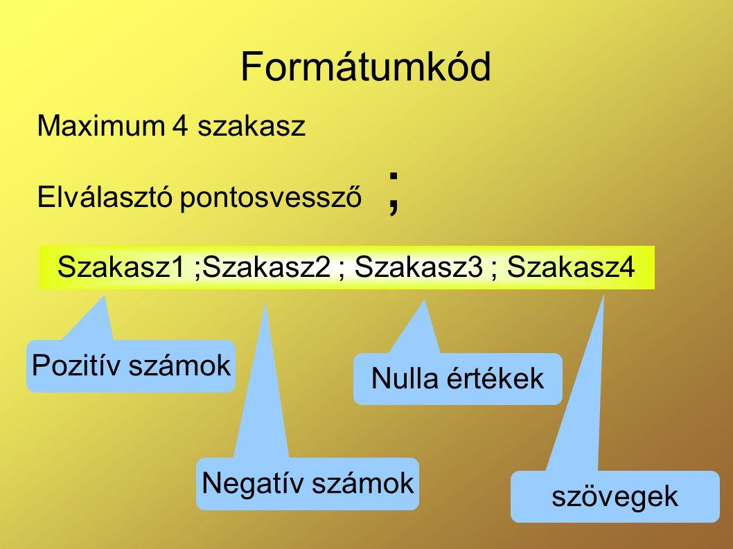 Maximum 4 szakasz Elválasztó pontosvessző ;