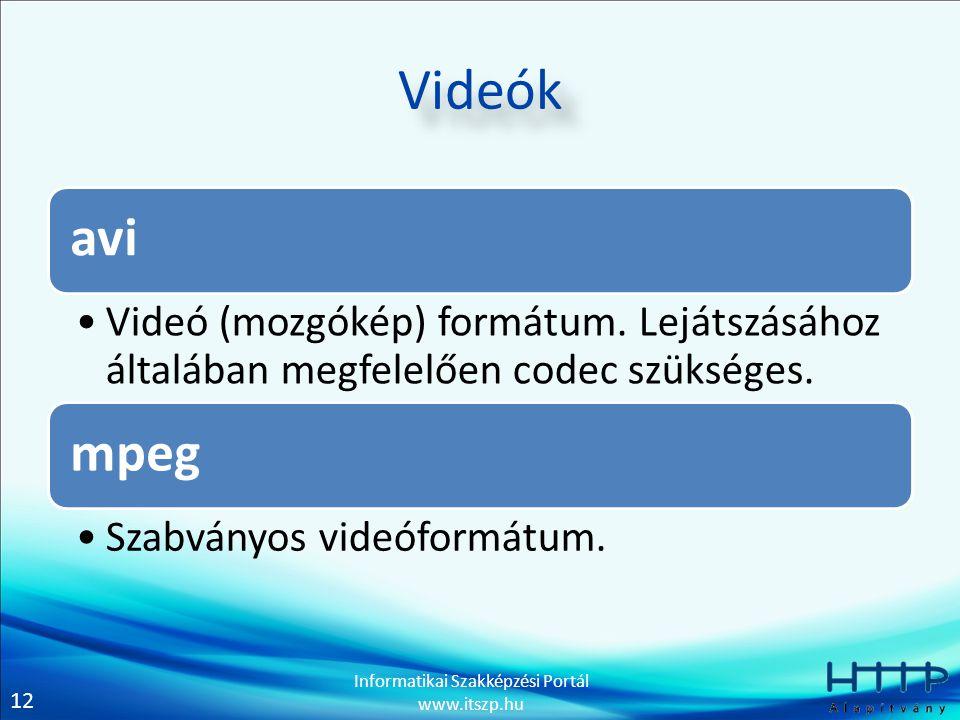 Videók avi. Videó (mozgókép) formátum. Lejátszásához általában megfelelően codec szükséges. mpeg.