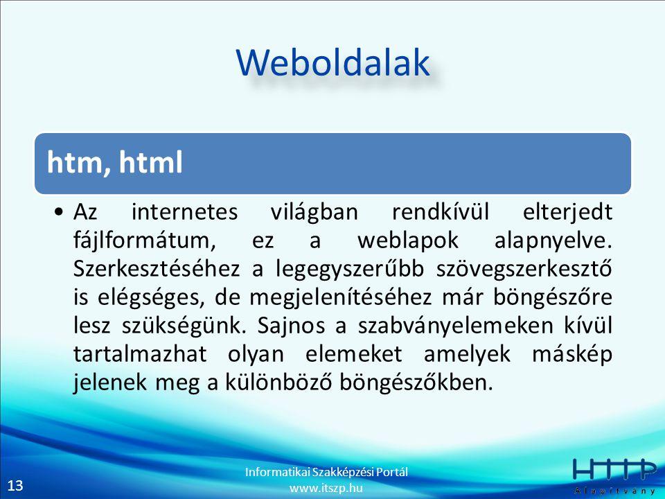 Weboldalak htm, html.