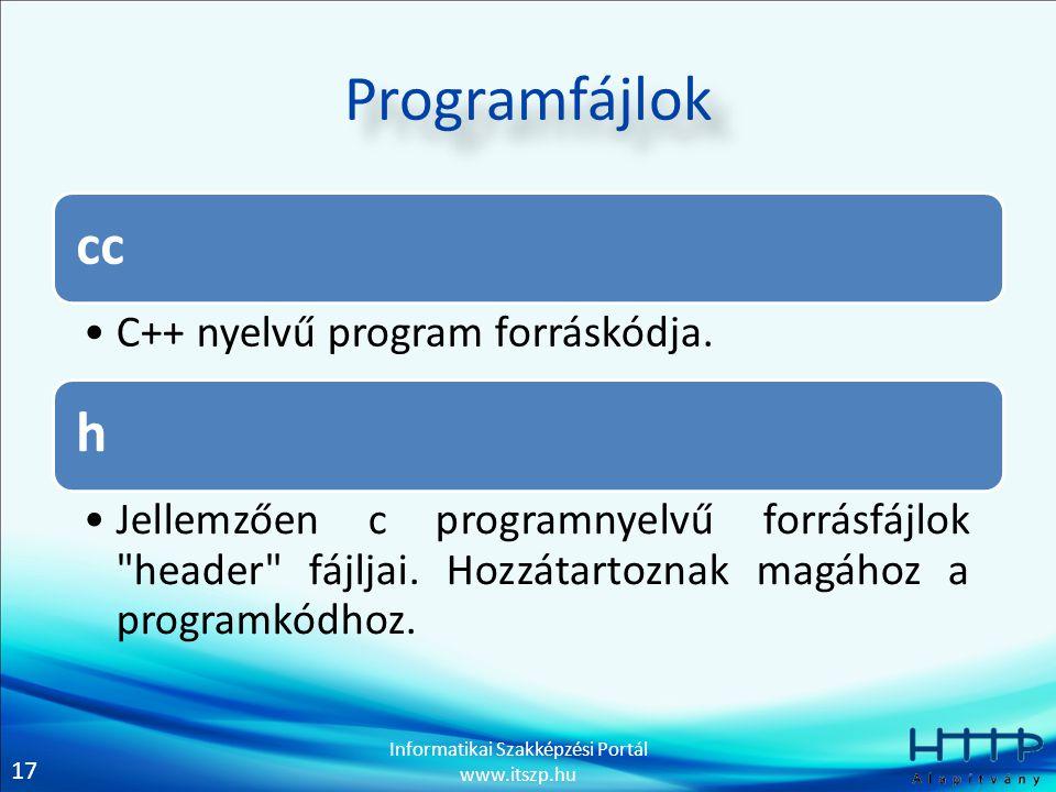 Programfájlok cc h C++ nyelvű program forráskódja.