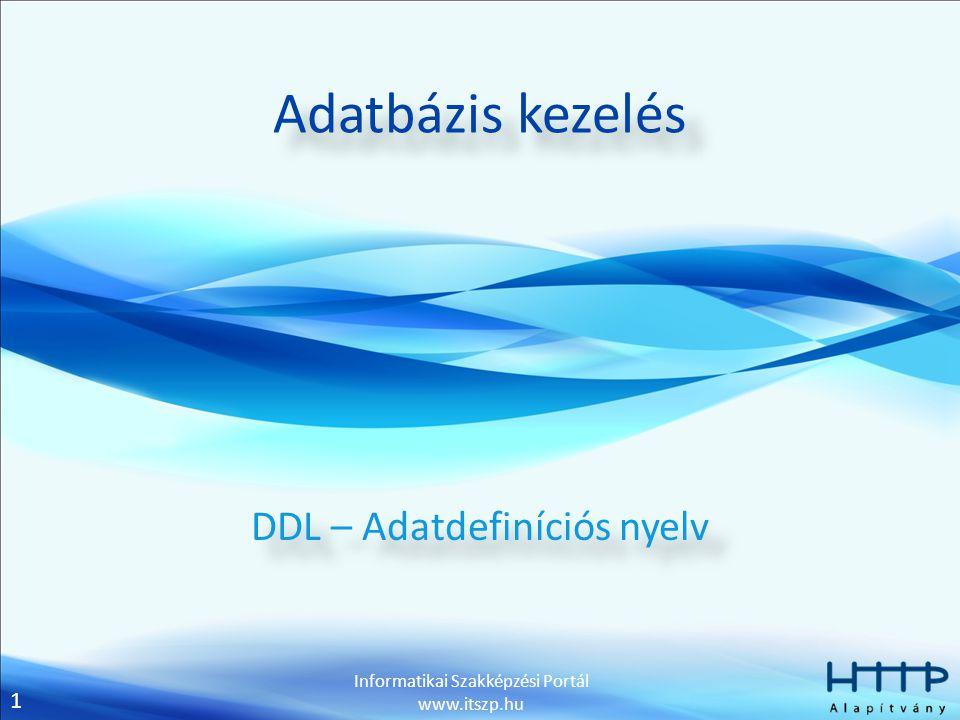 DDL – Adatdefiníciós nyelv