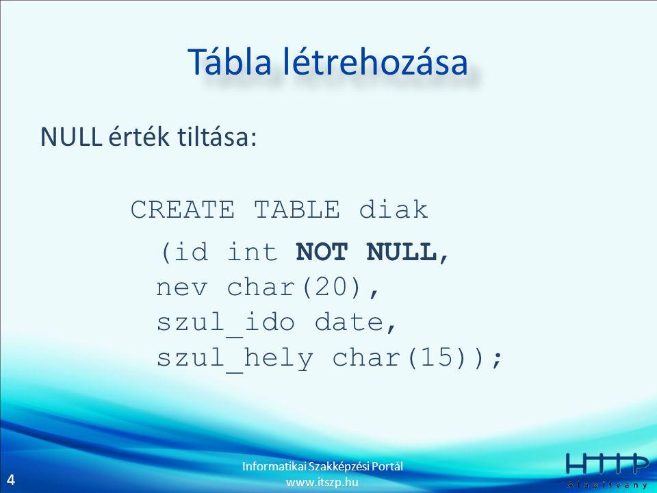 Tábla létrehozása NULL érték tiltása: CREATE TABLE diak