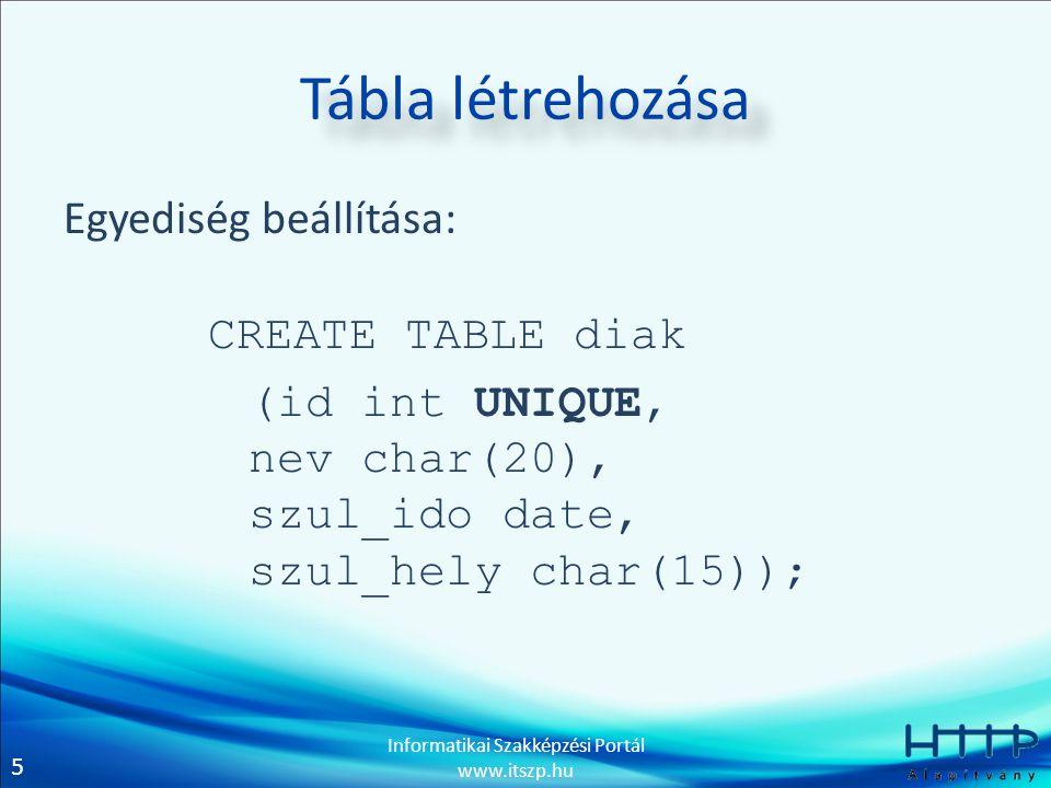 Tábla létrehozása Egyediség beállítása: CREATE TABLE diak