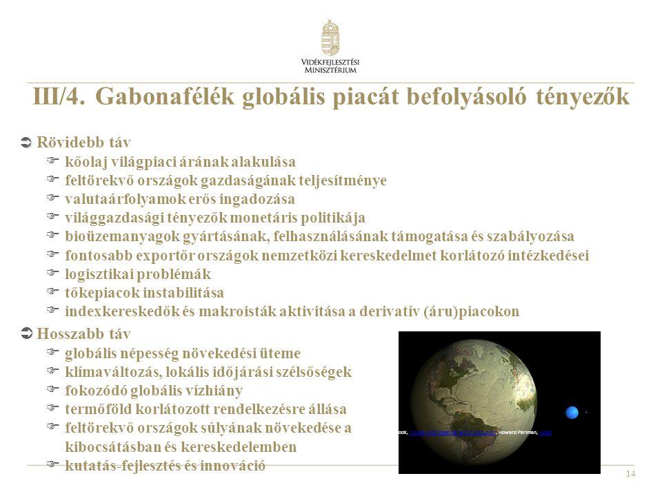 III/4. Gabonafélék globális piacát befolyásoló tényezők