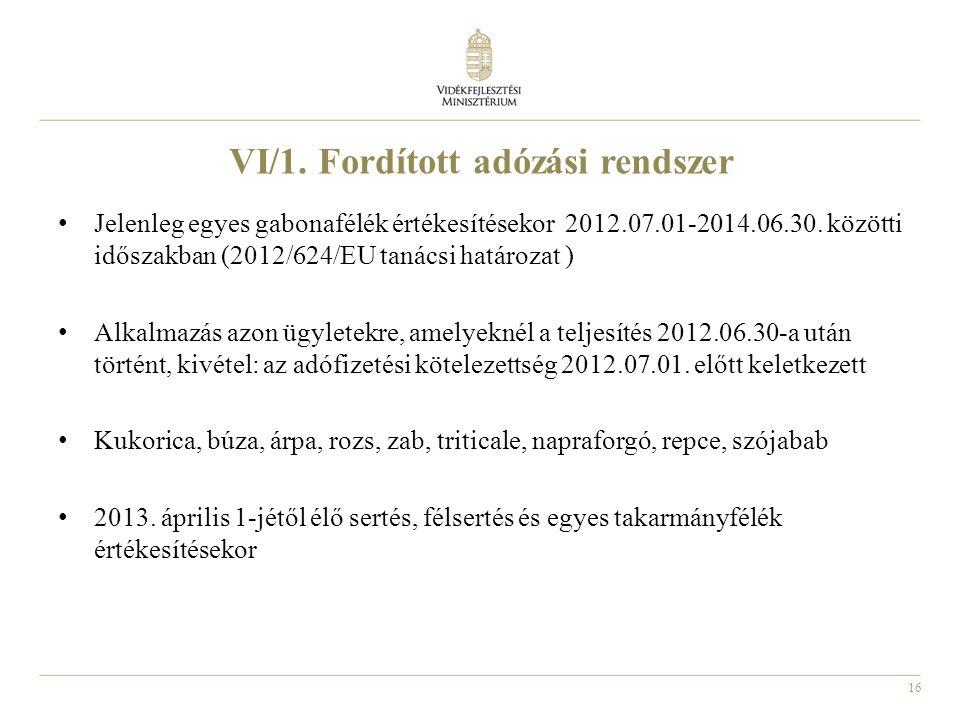 VI/1. Fordított adózási rendszer