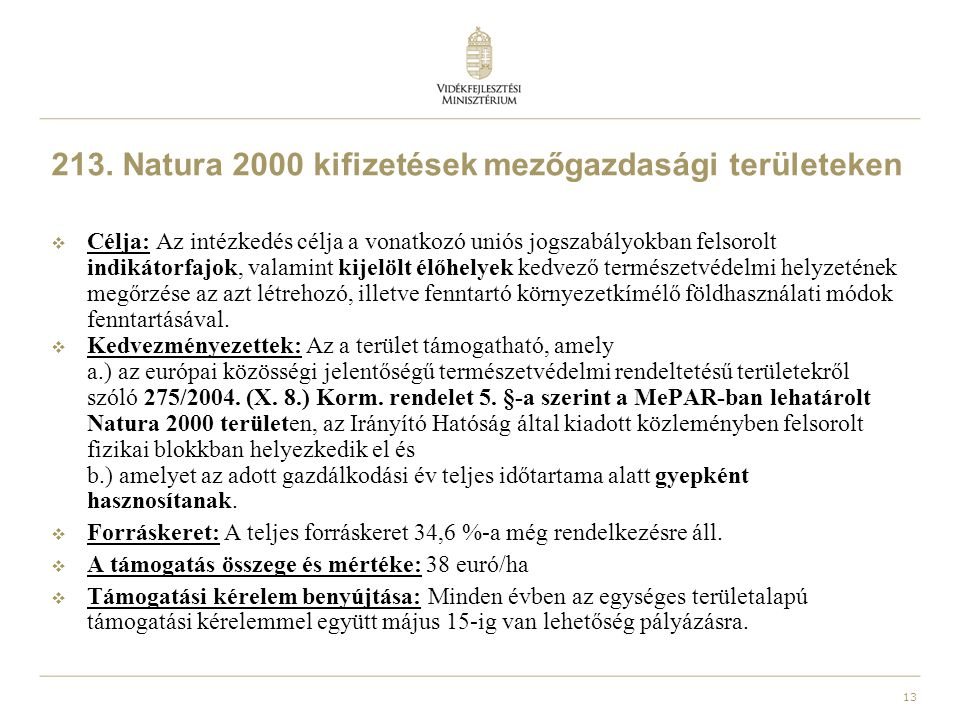213. Natura 2000 kifizetések mezőgazdasági területeken