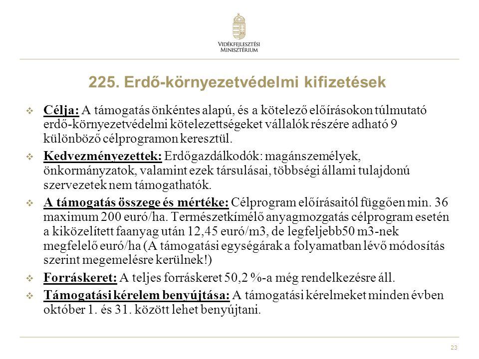 225. Erdő-környezetvédelmi kifizetések