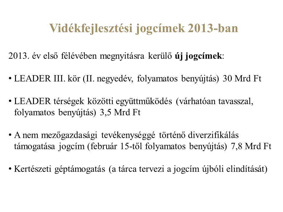 Vidékfejlesztési jogcímek 2013-ban