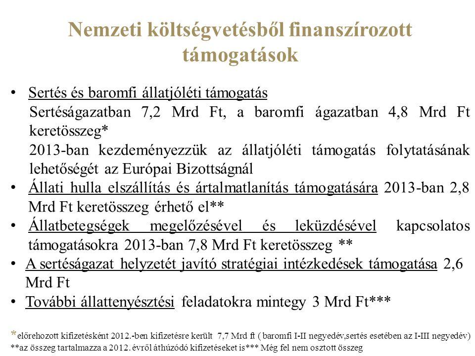 Nemzeti költségvetésből finanszírozott támogatások