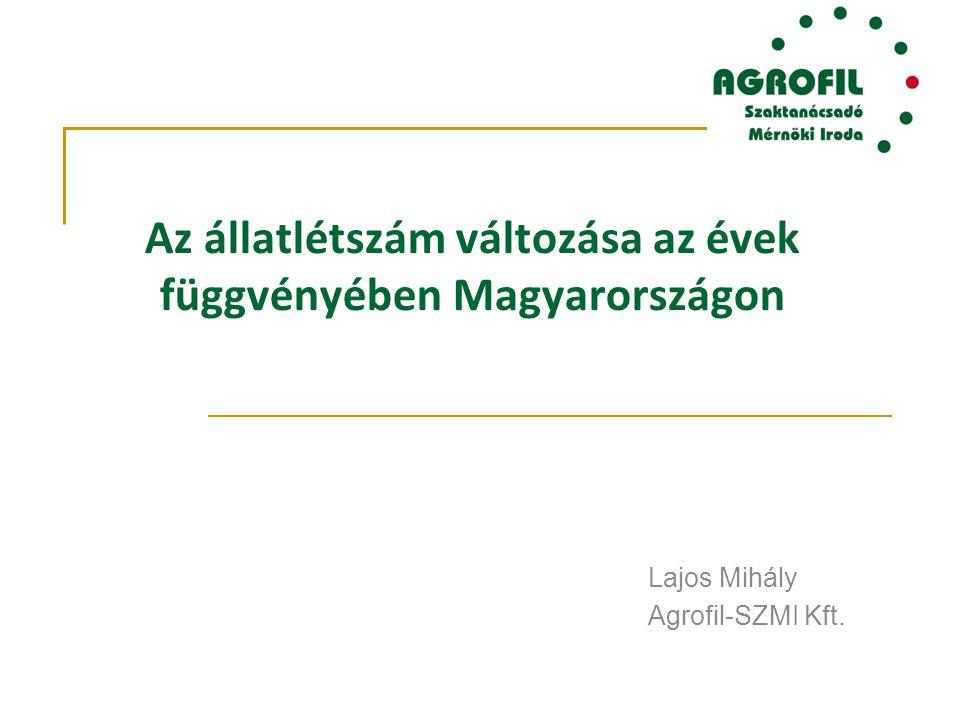 Az állatlétszám változása az évek függvényében Magyarországon