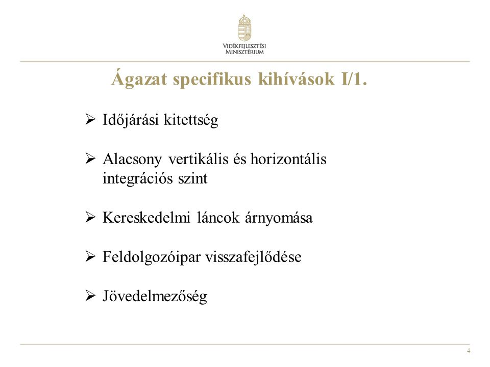 Ágazat specifikus kihívások I/1.