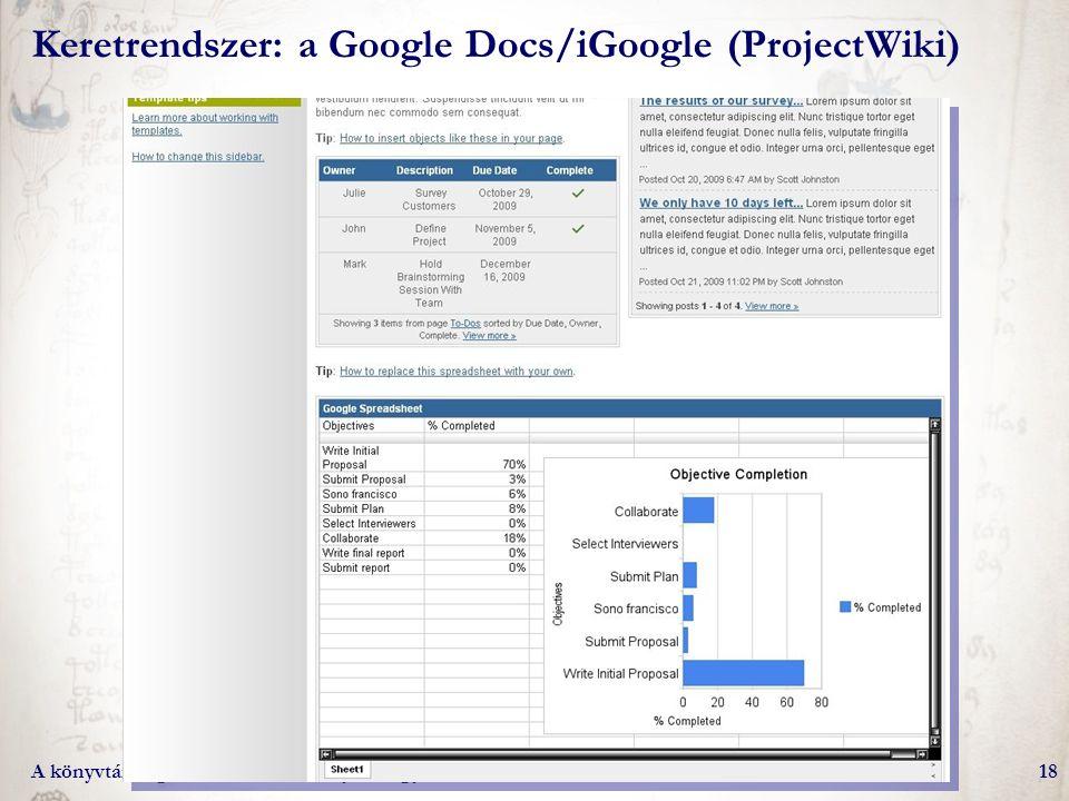Keretrendszer: a Google Docs/iGoogle (ProjectWiki)