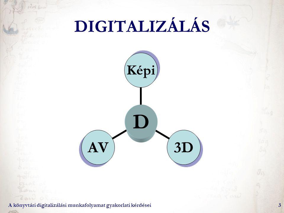 DIGITALIZÁLÁS A könyvtári digitalizálási munkafolyamat gyakorlati kérdései