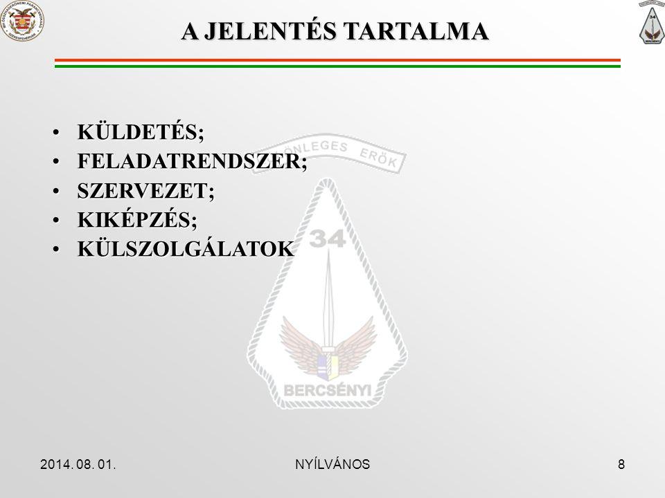 A JELENTÉS TARTALMA KÜLDETÉS; FELADATRENDSZER; SZERVEZET; KIKÉPZÉS;