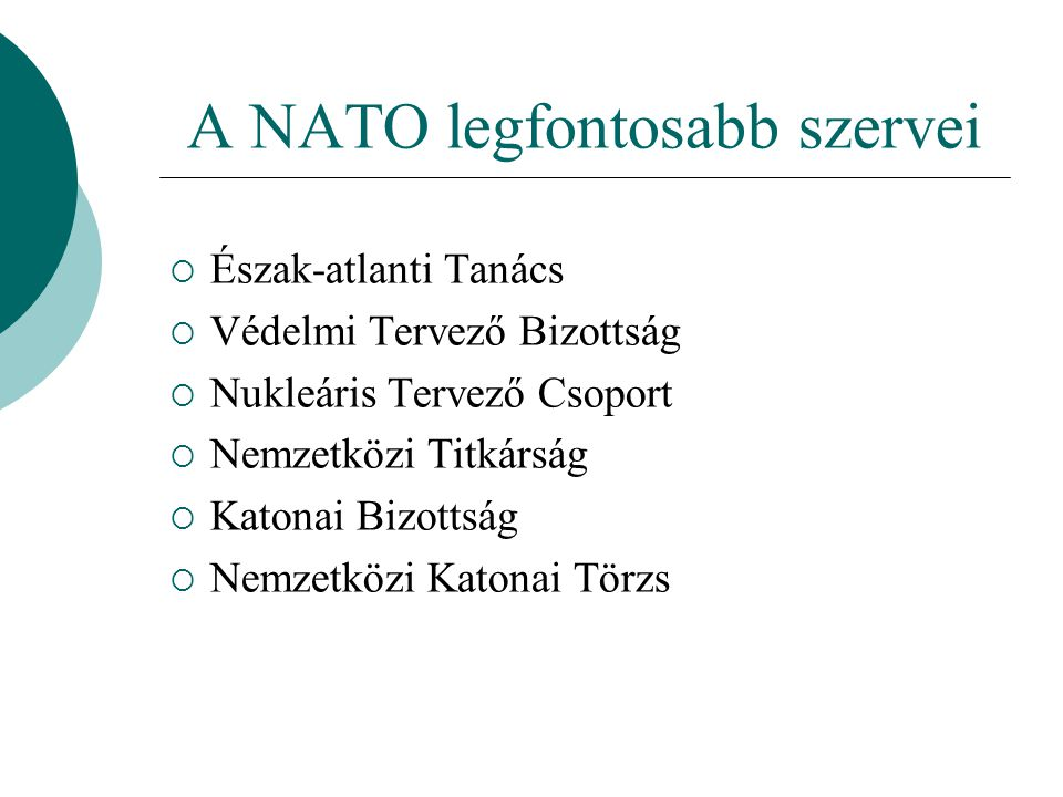A NATO legfontosabb szervei