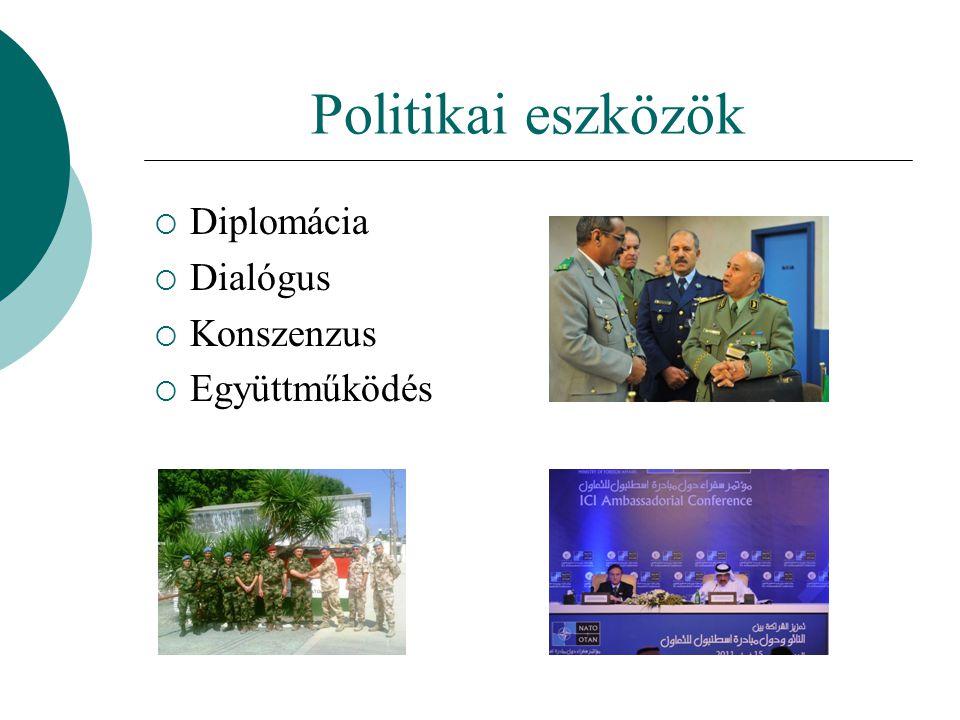 Politikai eszközök Diplomácia Dialógus Konszenzus Együttműködés