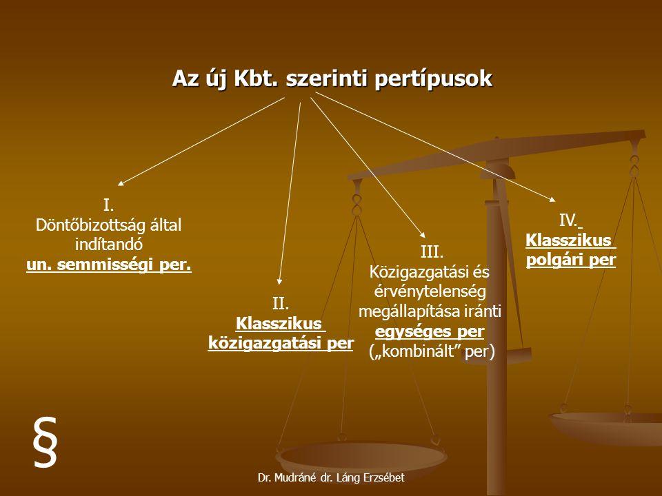 § Az új Kbt. szerinti pertípusok I. Döntőbizottság által indítandó IV.
