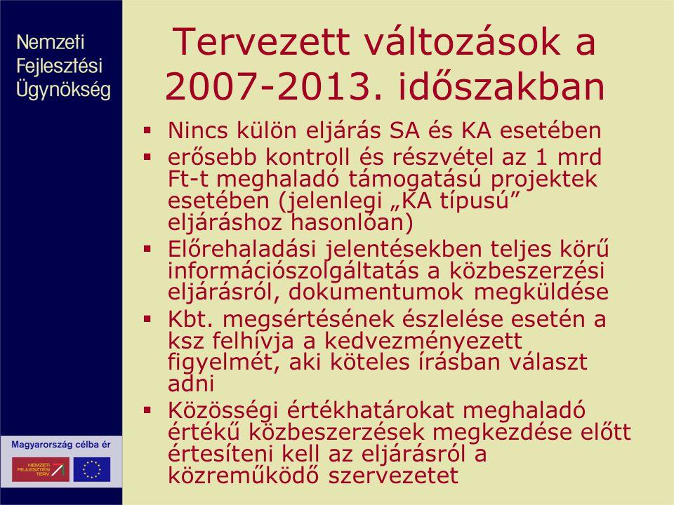 Tervezett változások a 2007-2013. időszakban
