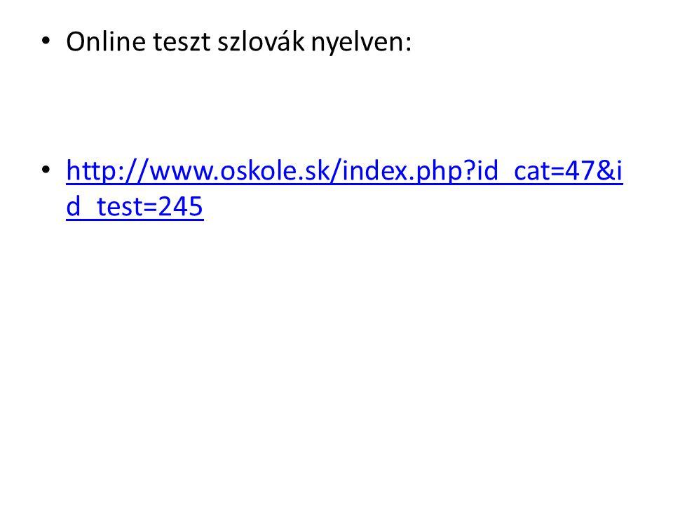 Online teszt szlovák nyelven: