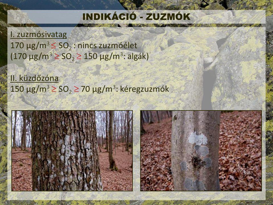 INDIKÁCIÓ - ZUZMÓK I. zuzmósivatag. 170 μg/m3  SO2 : nincs zuzmóélet. (170 μg/m3  SO2  150 μg/m3: algák)