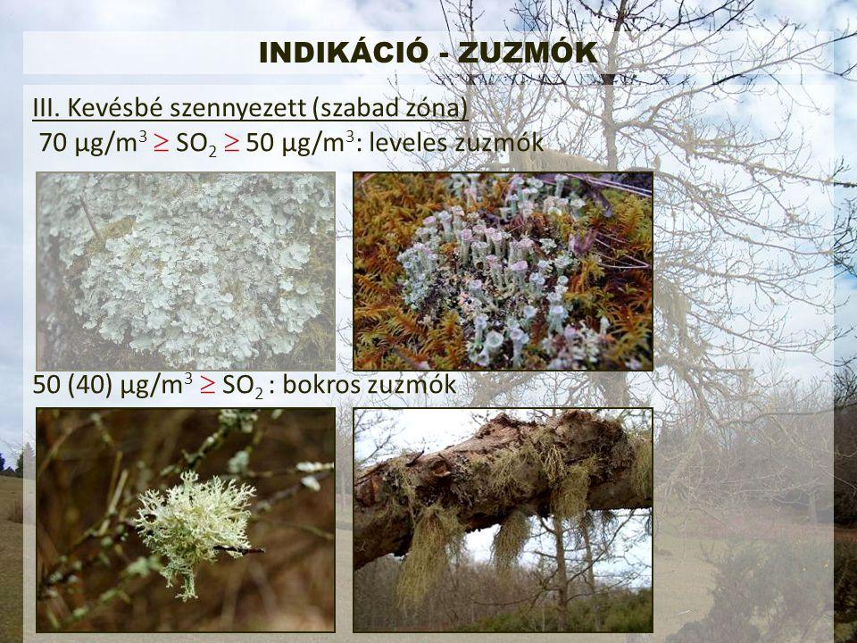 INDIKÁCIÓ - ZUZMÓK III. Kevésbé szennyezett (szabad zóna) 70 μg/m3  SO2  50 μg/m3: leveles zuzmók.