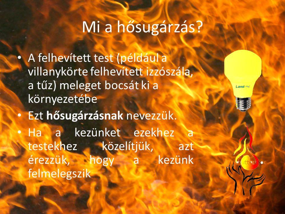 Mi a hősugárzás A felhevített test (például a villanykörte felhevített izzószála, a tűz) meleget bocsát ki a környezetébe.