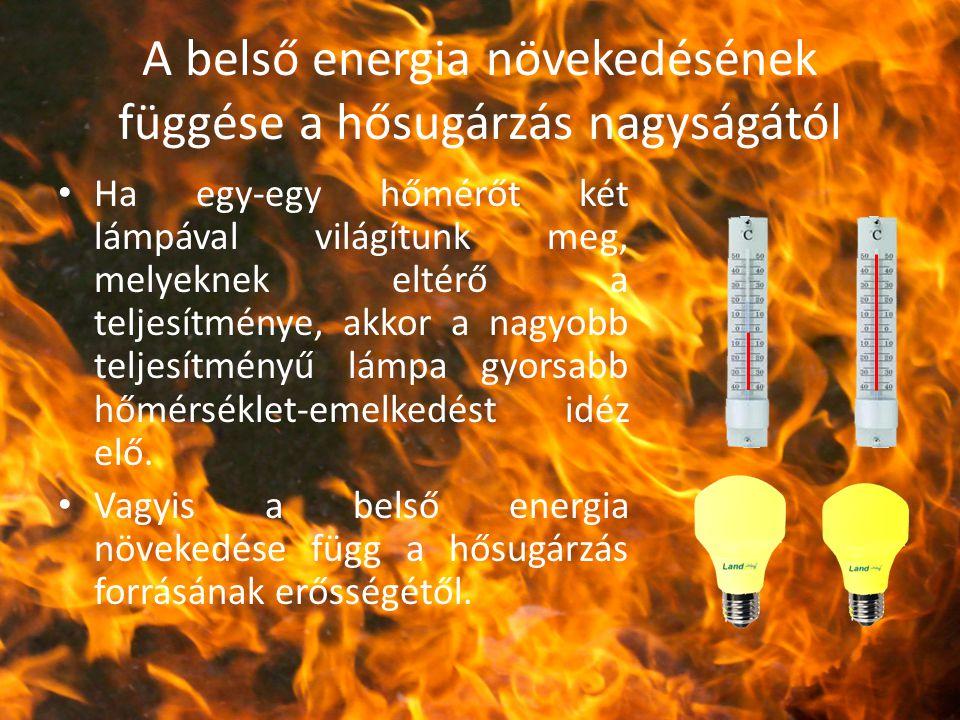 A belső energia növekedésének függése a hősugárzás nagyságától