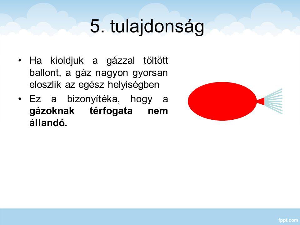 5. tulajdonság Ha kioldjuk a gázzal töltött ballont, a gáz nagyon gyorsan eloszlik az egész helyiségben.