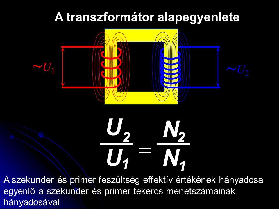 U N U N ~U1 ~U2 A transzformátor alapegyenlete