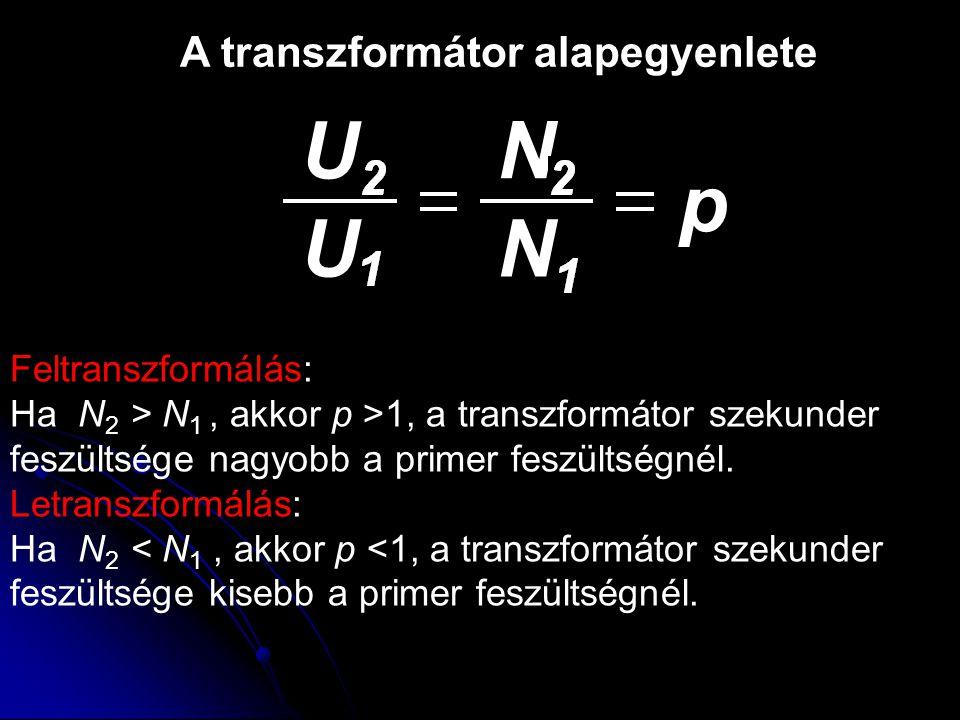 U N p U N A transzformátor alapegyenlete Feltranszformálás:
