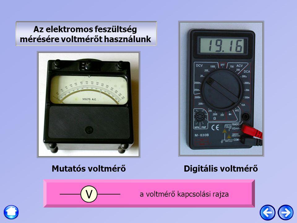 Az elektromos feszültség mérésére voltmérőt használunk