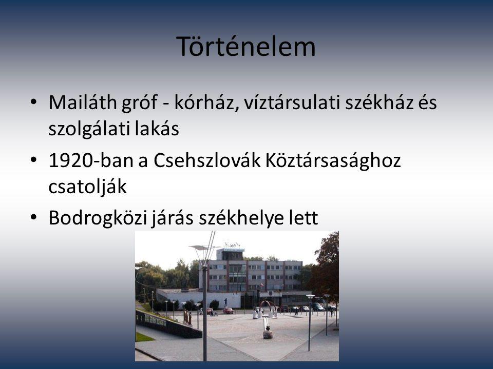 Történelem Mailáth gróf - kórház, víztársulati székház és szolgálati lakás. 1920-ban a Csehszlovák Köztársasághoz csatolják.