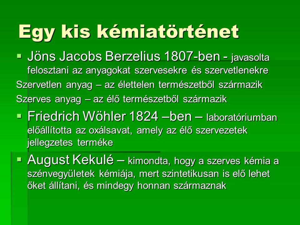 Egy kis kémiatörténet Jöns Jacobs Berzelius 1807-ben - javasolta felosztani az anyagokat szervesekre és szervetlenekre.