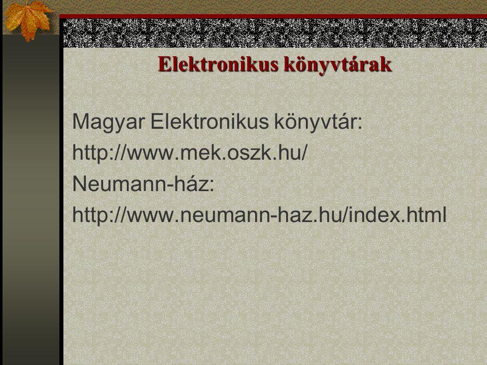 Elektronikus könyvtárak