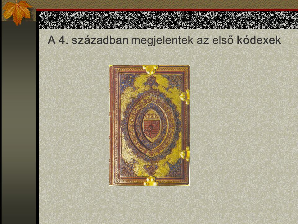 A 4. században megjelentek az első kódexek