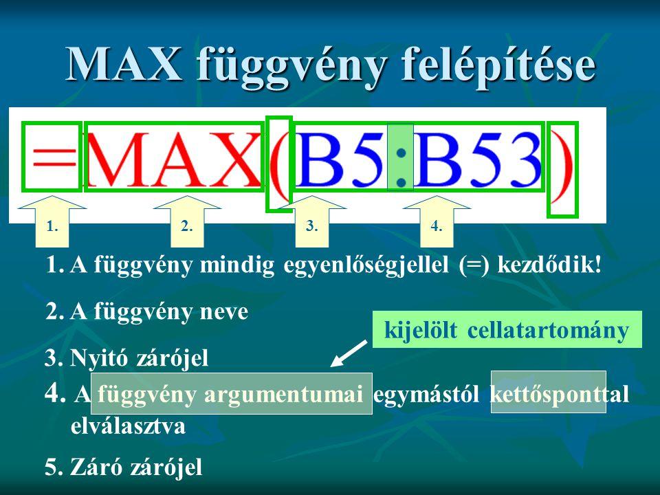 MAX függvény felépítése