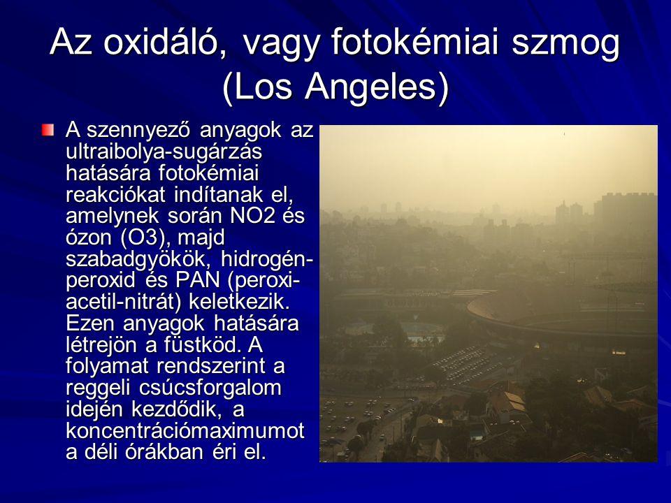 Az oxidáló, vagy fotokémiai szmog (Los Angeles)