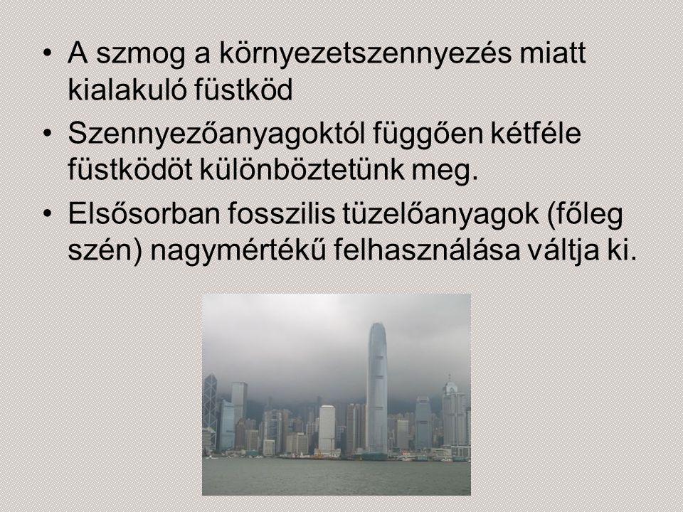 A szmog a környezetszennyezés miatt kialakuló füstköd