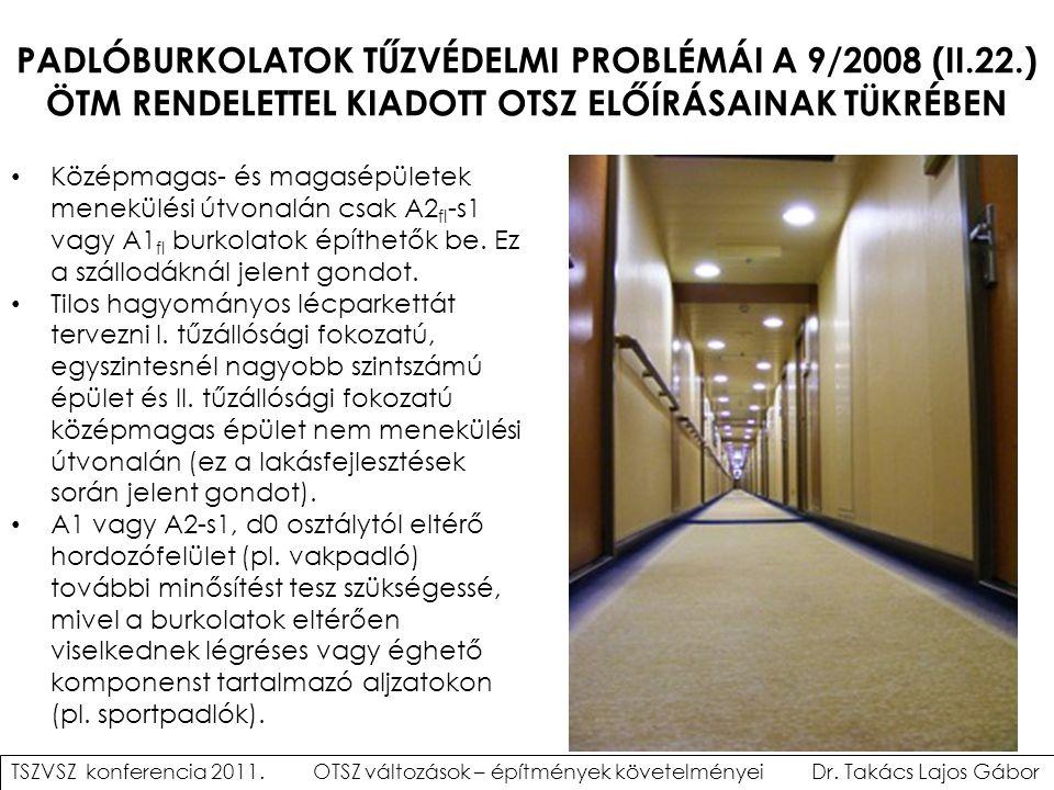 PADLÓBURKOLATOK TŰZVÉDELMI PROBLÉMÁI A 9/2008 (II. 22