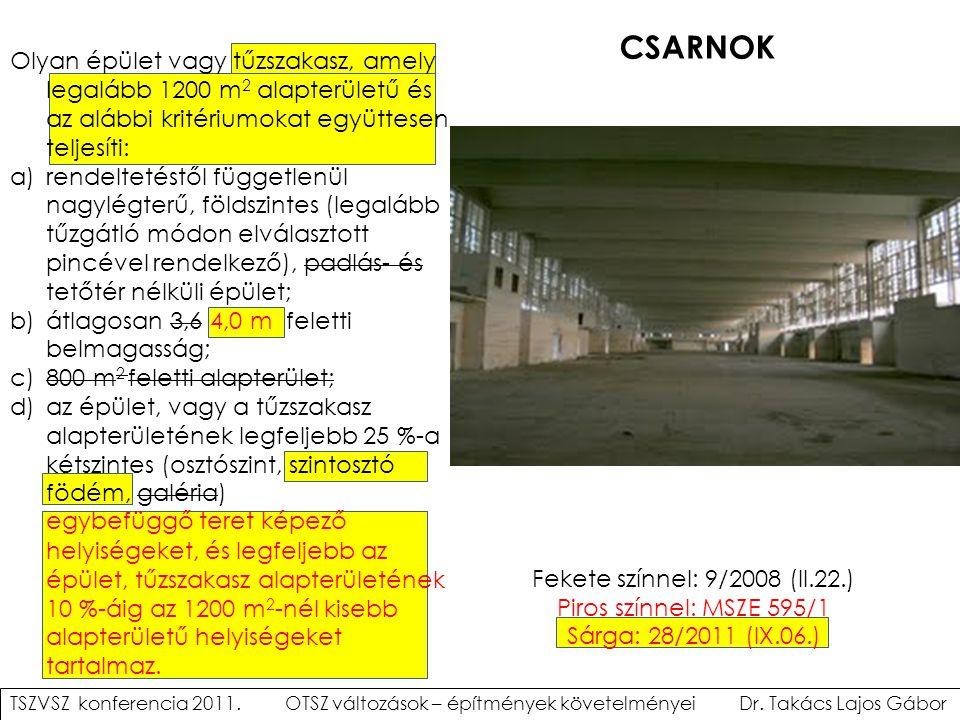 CSARNOK Olyan épület vagy tűzszakasz, amely legalább 1200 m2 alapterületű és az alábbi kritériumokat együttesen teljesíti:
